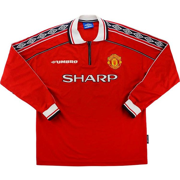 Maillot Foot Football Manchester United 1ª ML Retro 1998 1999 Rouge
